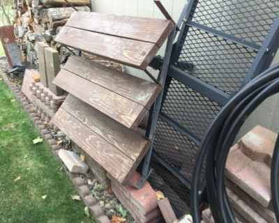 3 sets of stair risers, 2 are steel and 1 is treated wood