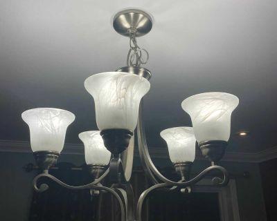 5 lights chandelier - brushed nickel