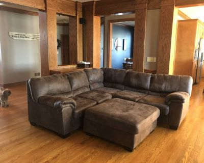 Sectional couch, ottoman, and recliner