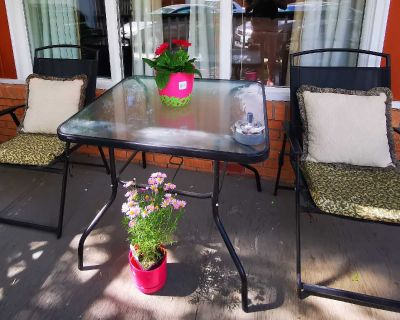 Glass Patio table and foldable chairs