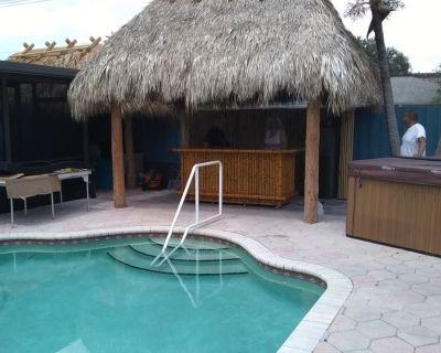 Bamboo Tiki Bar, customizable outdoor patio bar, mini fridge, deck furniture
