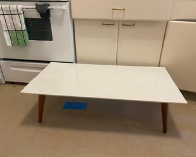 MCM-style white coffee table
