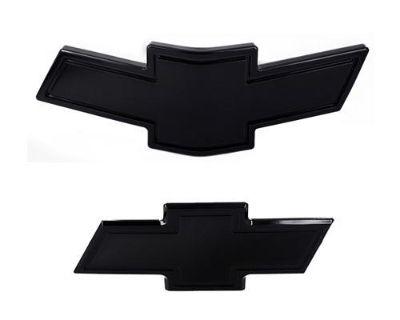10-13 Chevy Camaro Front & Rear Billet Bowtie Grille Emblems Set Bordered Black