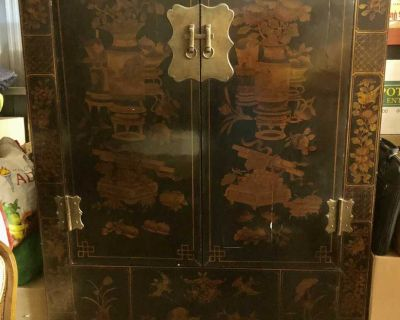Spacious Chinese Antique Laquer Armoire