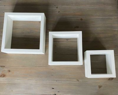 Wall mounted floating cube shelves - set of 3