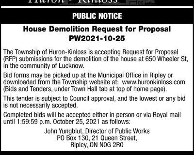 PUBLIC NOTICE House Demoliti...
