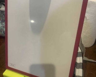 Dry erase/chalk board for toddler play. Folds down with clip for paper.