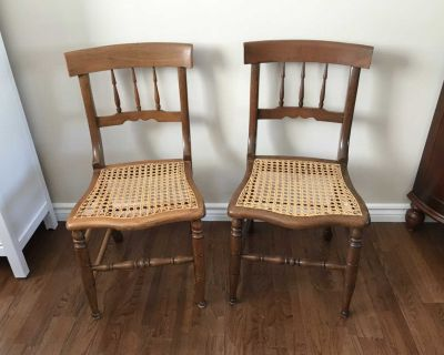 Pair of Antique Hand Woven Cane Chairs