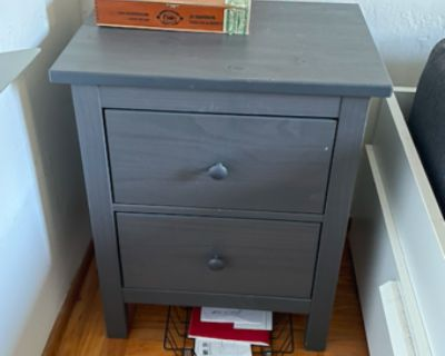 Gray end table with drawers