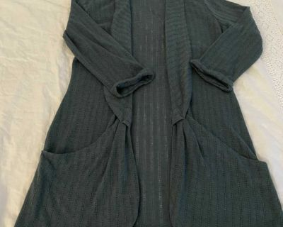 Anthropologie Pins and Needles green open front cardigan, size M