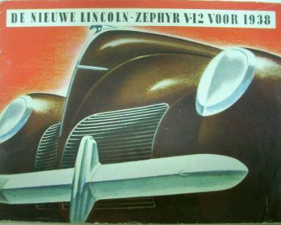 1938 Lincoln Zephyr V12 Color Original Sales Brochure Dutch Version