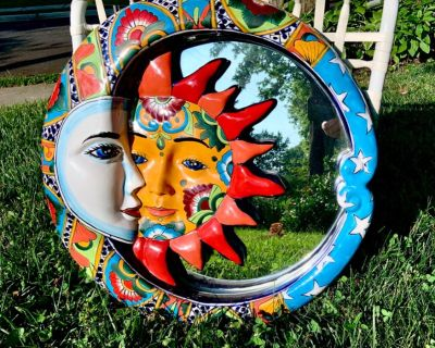 Talavera Pottery Hand Painted Ceramic LARGE Eclipse Moon Sun Mirror