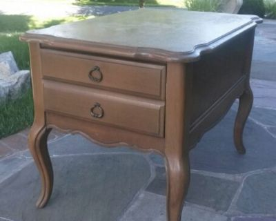 Solid maple wood vintage end table