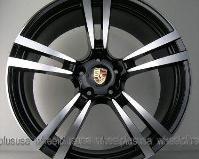 "22"" Porsche Cayenne Turbo Style Gts S Wheels Rims Black Machine 4 New"