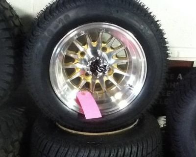 Golf Cart Wheel And Tire Combo Rhox Brand Gold Accent Fit Club Car E-z-go Carts