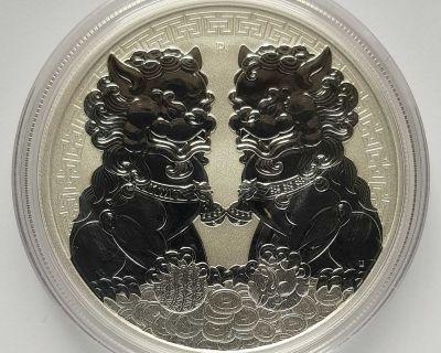 Australia $1 2020 Guardian Lions (Double Pixiu) Silver Ag 9999 Pure Fine and Gold Au 9999 Pure Fine Coins