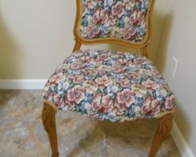 Vintage Armless Carved claw foot & rose Vanity Chair Floral Garden Tapestry