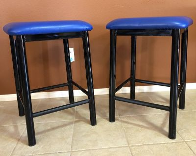 Bright Blue Bar Stools - set of two