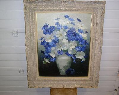 Blue and White Floral Painting