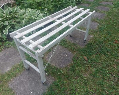 Antique folding Wash Tub Stand Bench on casters , painted white