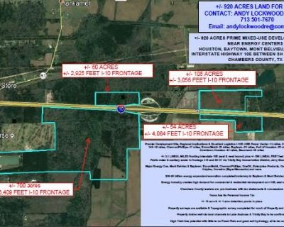 752 acres (925ac - 173.4ac = 752ac) (4 parcels: 533ac, 60ac, 105ac & 54ac) I-10E between SH 61 & FM 1724, Chambers County, TX