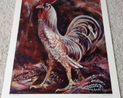 Rooster Wall Art Poster Print by Hans Krommenhoek - Signed - Unframed