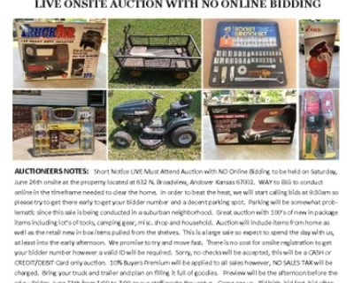 LIVE Estate Auction in Andover Kansas on Saturday, June 26th