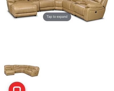 Genuine Leather Sectional Sofa by Cindy Crawford