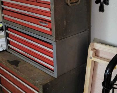 1970s vintage three tier Craftsman rollaway toolbox