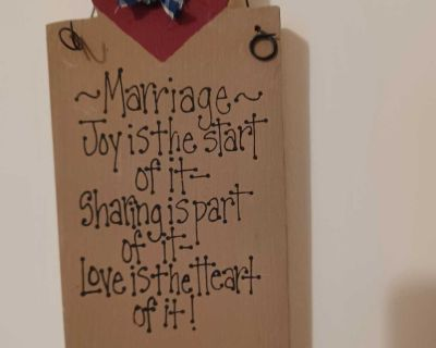 Marriage sign, wooden