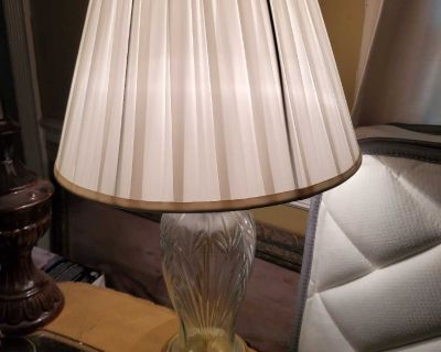2 glass vintage lamps with shades