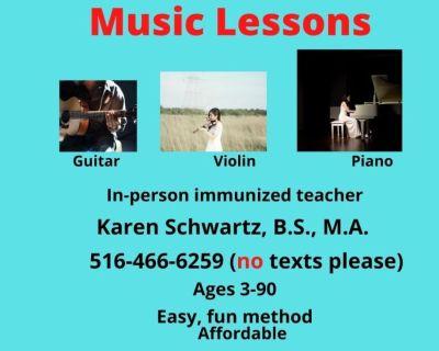 Music Lessons - Piano, Guitar, Violin