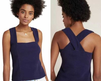 NWT $68 Anthropologie Maeve Navy Stephie Cross Back Top MP