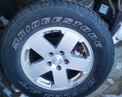 Set of 4 tire and rims, rim size 18. They were For my jeep wrangler.