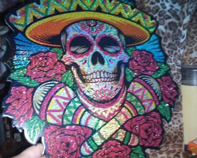 Hanging skull picture with Mexican hat