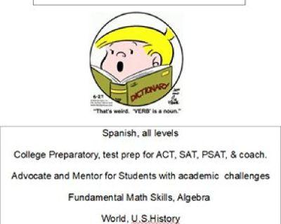 Spanish Language Tutor (English Grammar/Lit/US/World History/Math/Sciences)