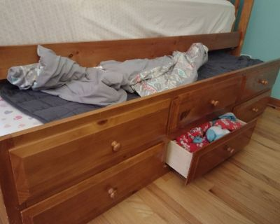 Trundle bed with storage drawers and mattresses