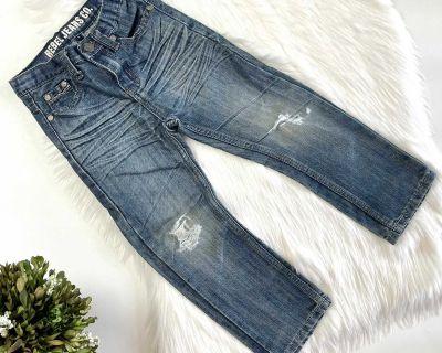 Boys Rebel Distressed Straight Leg Jeans - Sz 5