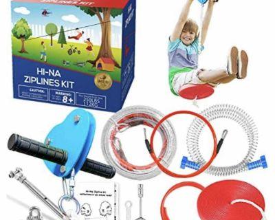 80 ft Zip Line Kit. Includes BONUS safety harness & lanyard