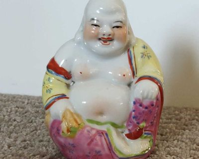Small Laughing Buddha Sitting Statue Figurine