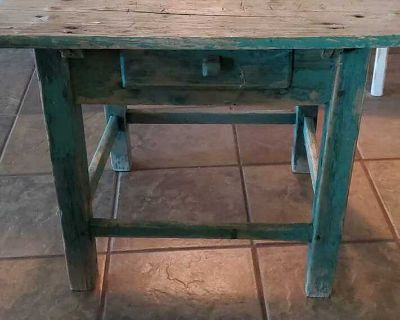 This is a authentic vintage farm style side table