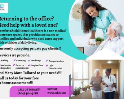 Comfort Shield Home Health Accepting Private Pay Clients!!!