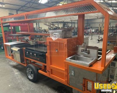 NEW  -  4' x 12' Open BBQ Smoker Food Concession Trailer