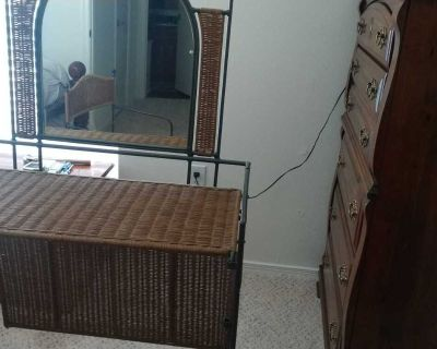 Wicker vanity table and chair