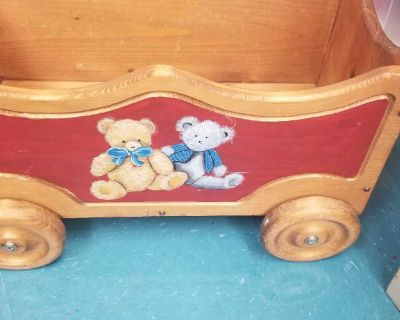 Unique wooden wagon. Great for displaying your bear collection.