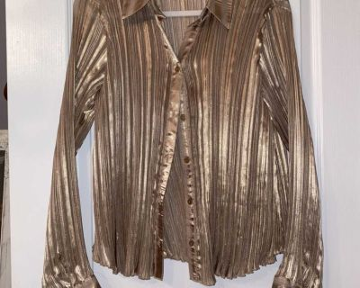 Gold Shimmer Accordion Button Up Top