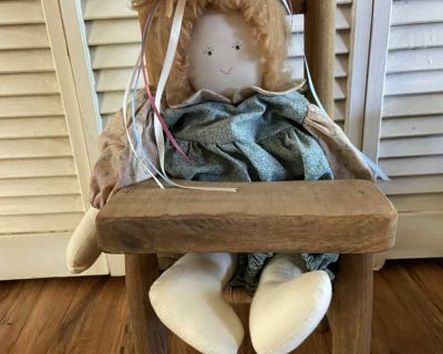 Fabric doll with high chair