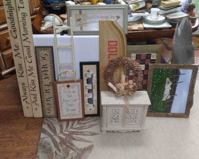 13 pc wood primitive pictures and decor lot and small wood standing cabinet smoke free home