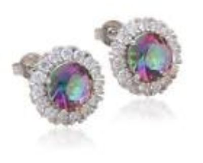 New - Large Rainbow Topaz and White Topaz Silver Stud Earrings
