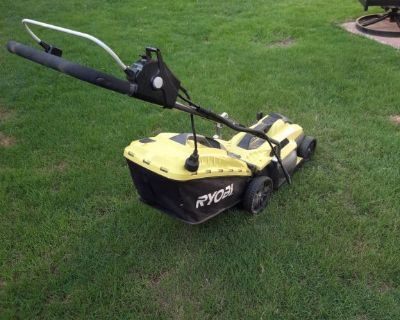 RYOBI Electric Push Mower / RYOBI Battery Trimmer Edger with Battery and Charger